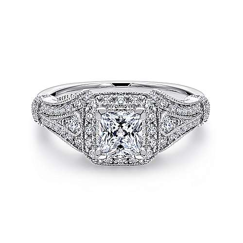 Gabriel - Delilah 14k White Gold Princess Cut Halo Engagement Ring