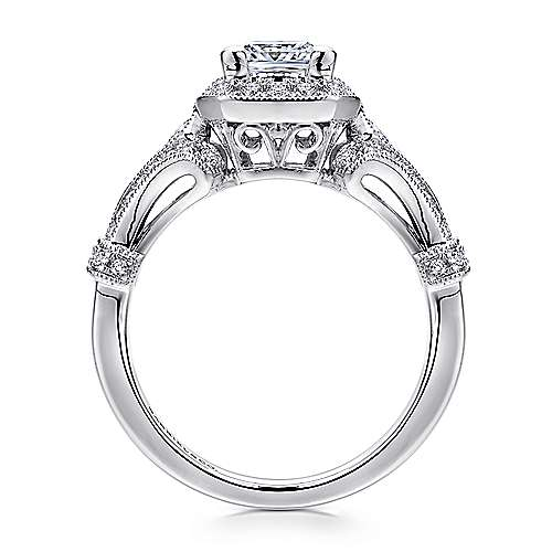 Delilah 14k White Gold Princess Cut Halo Engagement Ring angle 2