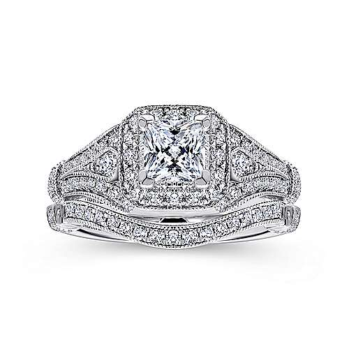 Delilah 14k White Gold Princess Cut Halo Engagement Ring angle 4