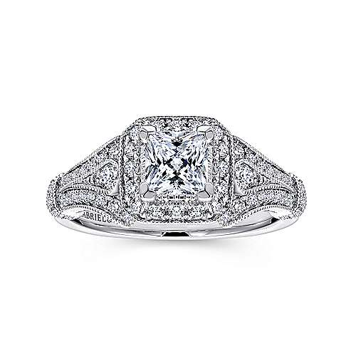 Delilah 14k White Gold Princess Cut Halo Engagement Ring angle 5