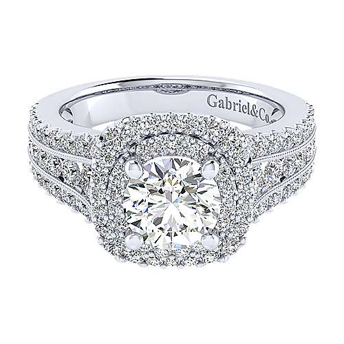 Gabriel - Delilah 14k White Gold Round Double Halo Engagement Ring