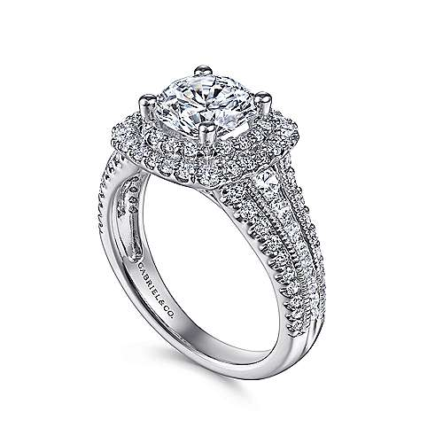 Delilah 14k White Gold Round Double Halo Engagement Ring angle 3