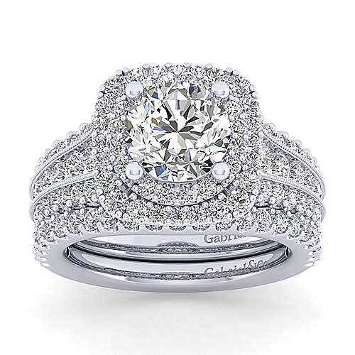 Delilah 14k White Gold Round Double Halo Engagement Ring angle 4