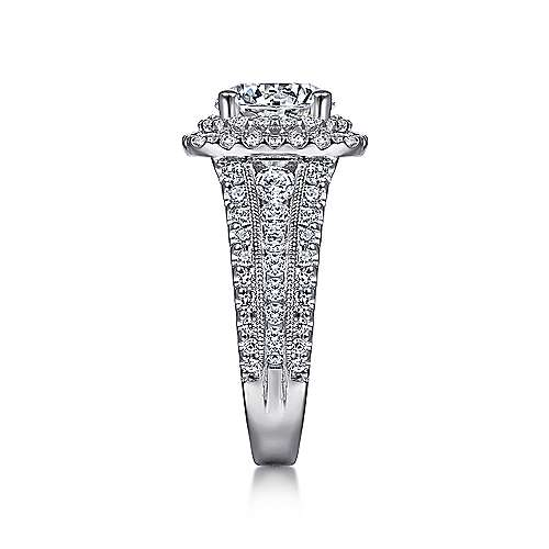 Delilah 14k White Gold Round Double Halo Engagement Ring angle 5