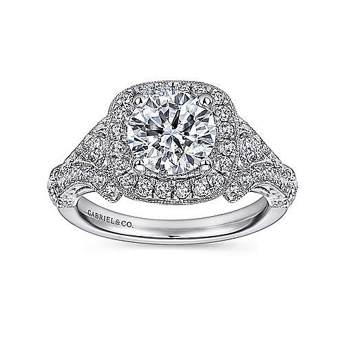 Delilah 14k White Gold Round Halo Engagement Ring angle 5