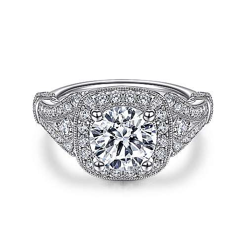 Delilah 14k White Gold Round Halo Engagement Ring angle 1