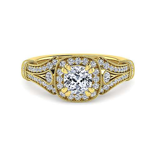 Gabriel - Delilah 14k Yellow Gold Cushion Cut Halo Engagement Ring