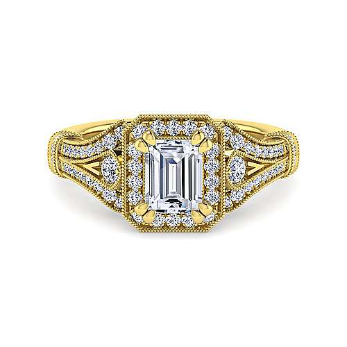 Gabriel - Delilah 14k Yellow Gold Emerald Cut Halo Engagement Ring