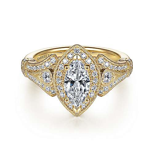 Gabriel - Delilah 14k Yellow Gold Marquise  Halo Engagement Ring