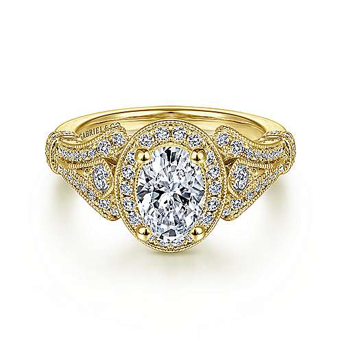 Gabriel - Delilah 14k Yellow Gold Oval Halo Engagement Ring