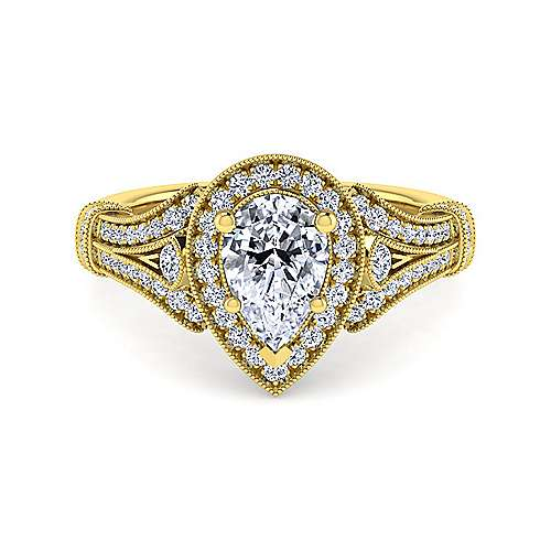 Gabriel - Delilah 14k Yellow Gold Pear Shape Halo Engagement Ring
