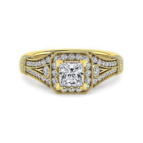 Gabriel - Delilah 14k Yellow Gold Princess Cut Halo Engagement Ring