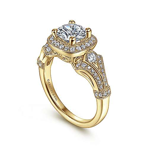 Delilah 14k Yellow Gold Round Halo Engagement Ring angle 3