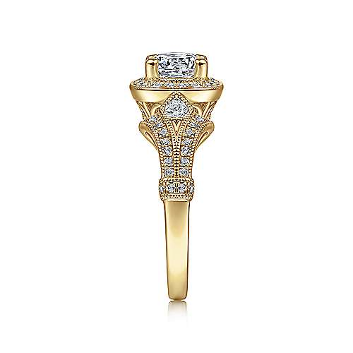 Delilah 14k Yellow Gold Round Halo Engagement Ring angle 5