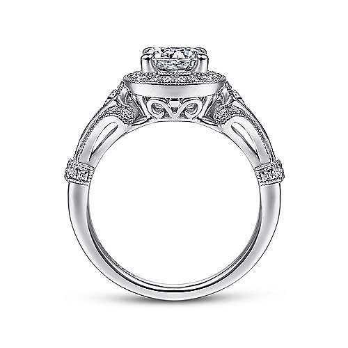 Delilah Platinum Round Halo Engagement Ring angle 2