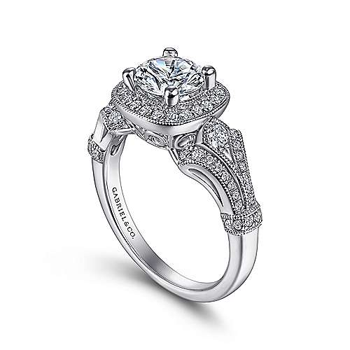 Delilah Platinum Round Halo Engagement Ring angle 3