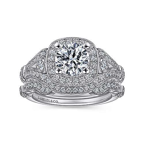 Delilah Platinum Round Halo Engagement Ring angle 4