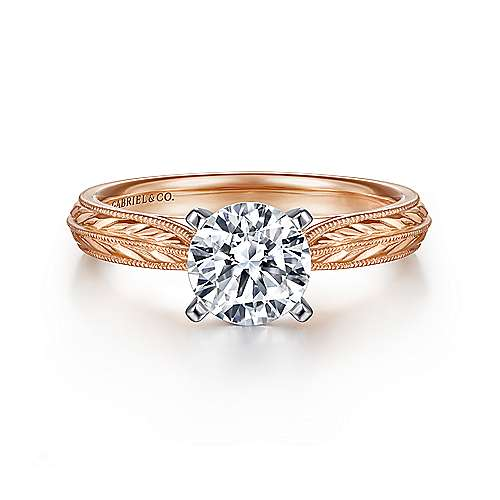 Gabriel - Della 14k White And Rose Gold Round Straight Engagement Ring
