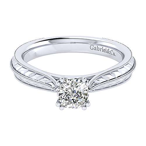 Gabriel - Della 14k White Gold Cushion Cut Solitaire Engagement Ring