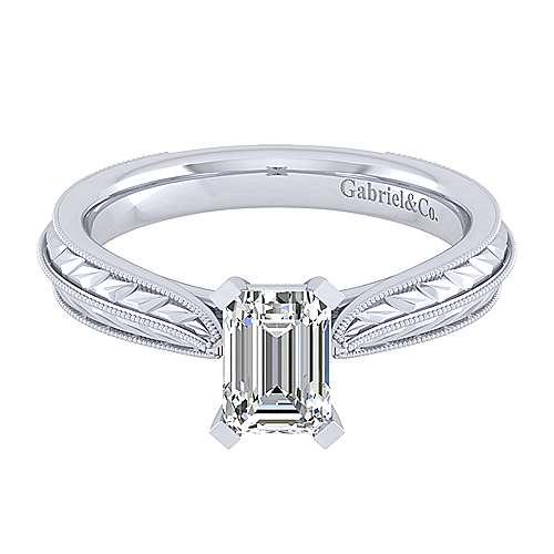 Gabriel - Della 14k White Gold Emerald Cut Solitaire Engagement Ring