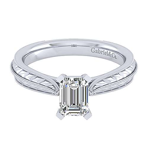 Gabriel - Della 14k White Gold Emerald Cut Straight Engagement Ring