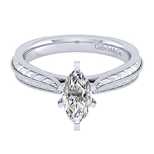 Gabriel - Della 14k White Gold Marquise  Solitaire Engagement Ring