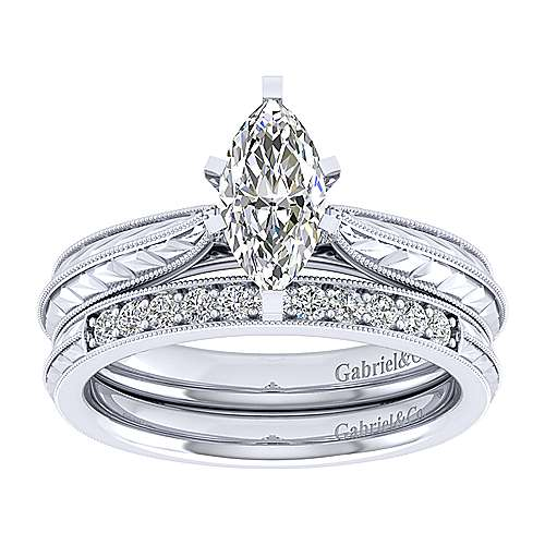 Della 14k White Gold Marquise  Solitaire Engagement Ring