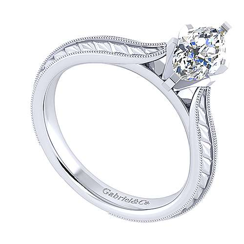 Della 14k White Gold Marquise  Straight Engagement Ring angle 3