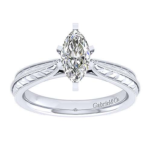 Della 14k White Gold Marquise  Straight Engagement Ring angle 5
