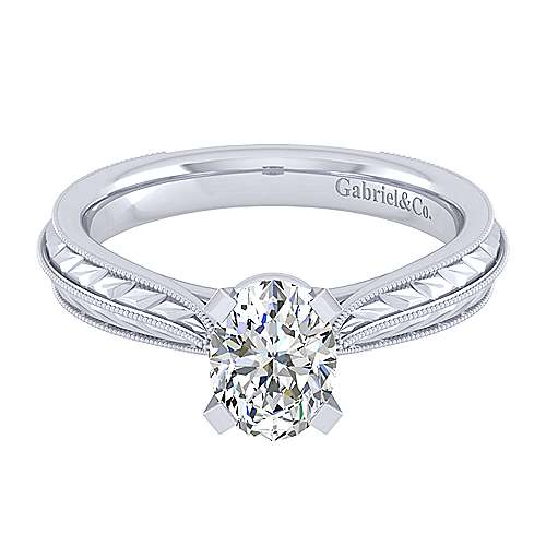 Gabriel - Della 14k White Gold Oval Solitaire Engagement Ring