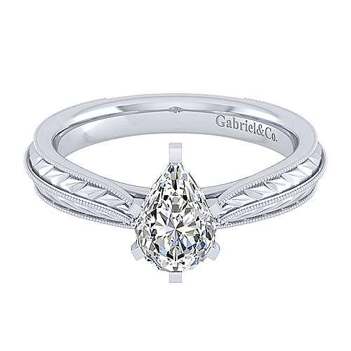 Gabriel - Della 14k White Gold Pear Shape Solitaire Engagement Ring