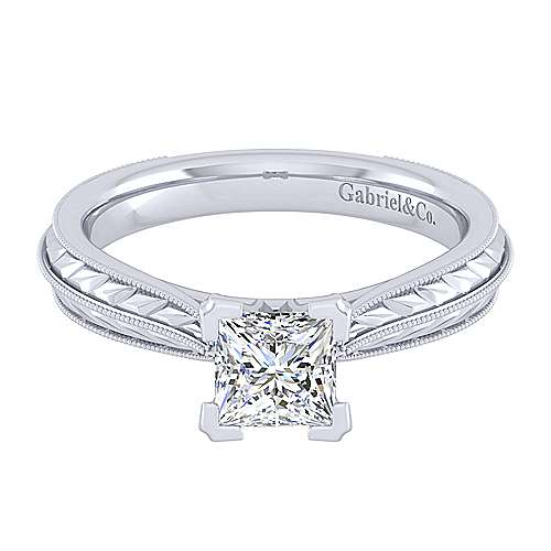 Gabriel - Della 14k White Gold Princess Cut Straight Engagement Ring