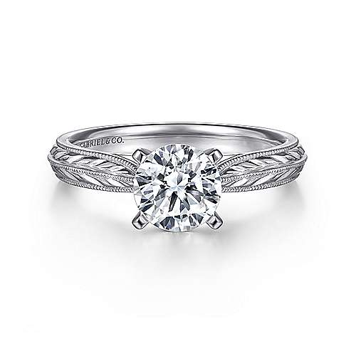 Della 14k White Gold Round Solitaire Engagement Ring angle 1