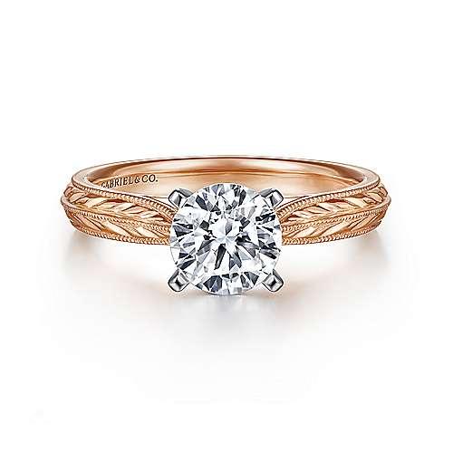 Gabriel - Della 14k White/rose Gold Round Straight Engagement Ring