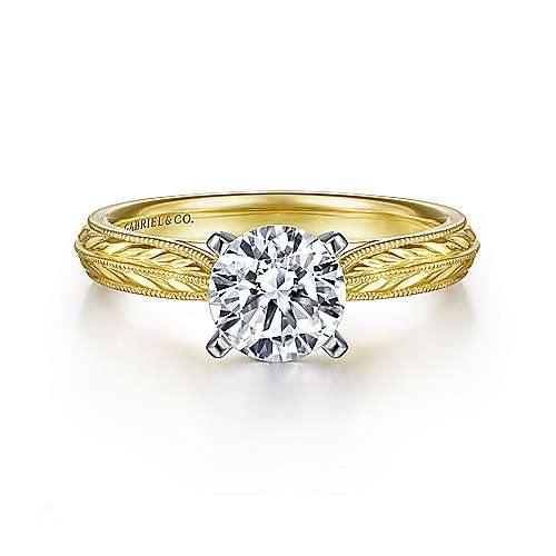 Gabriel - Della 14k Yellow And White Gold Round Solitaire Engagement Ring