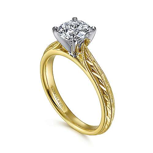 Della 14k Yellow And White Gold Round Straight Engagement Ring angle 3