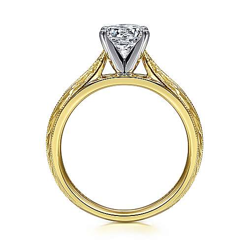 Della 14k Yellow/white Gold Round Straight Engagement Ring angle 2