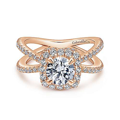 Gabriel - Delphinia 14k Rose Gold Round Halo Engagement Ring