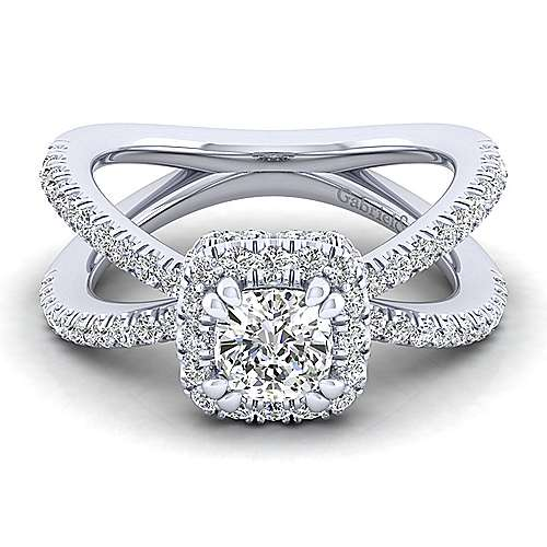 Gabriel - Delphinia 14k White Gold Cushion Cut Halo Engagement Ring