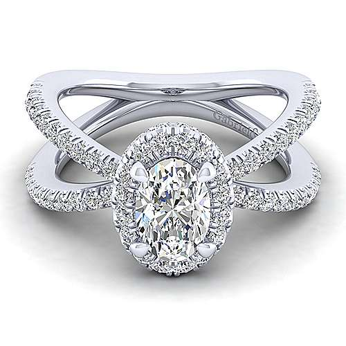 Gabriel - Delphinia 14k White Gold Oval Halo Engagement Ring