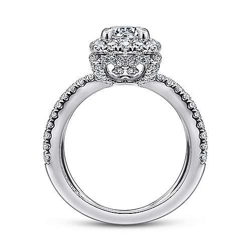 Delphinia 14k White Gold Round Halo Engagement Ring