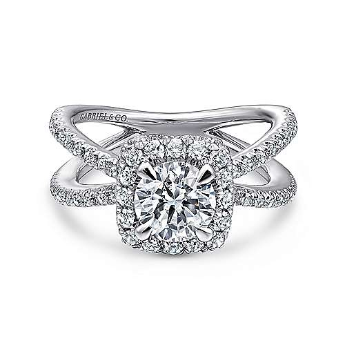 Gabriel - Delphinia 14k White Gold Round Split Shank Engagement Ring