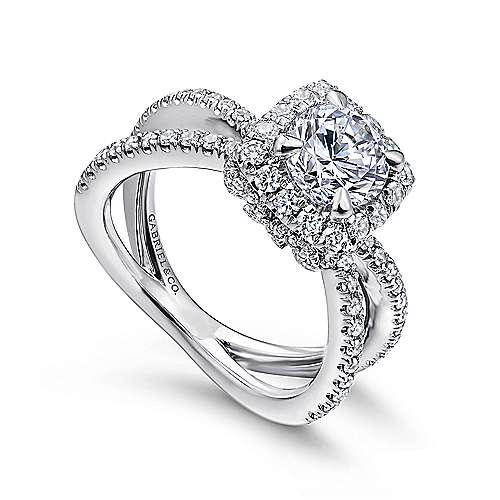 Delphinia 14k White Gold Round Split Shank Engagement Ring angle 3