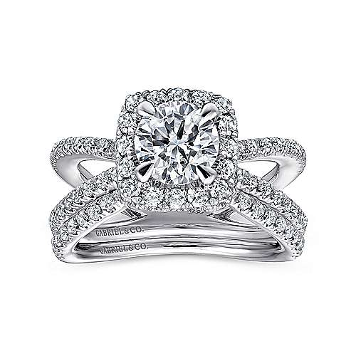 Delphinia 14k White Gold Round Split Shank Engagement Ring angle 4