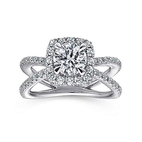 Delphinia 14k White Gold Round Split Shank Engagement Ring angle 5