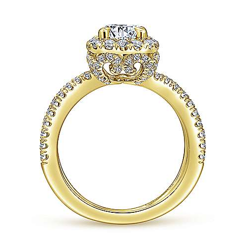 Delphinia 14k Yellow Gold Round Halo Engagement Ring angle 2
