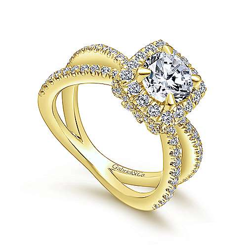 Delphinia 14k Yellow Gold Round Halo Engagement Ring angle 3
