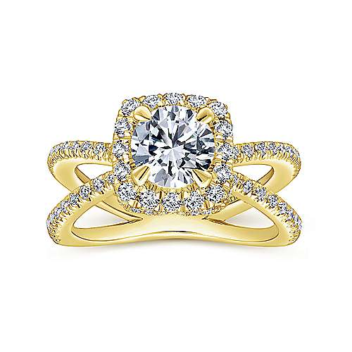 Delphinia 14k Yellow Gold Round Halo Engagement Ring angle 5