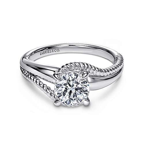 Delta 14k White Gold Round Bypass Engagement Ring angle 1