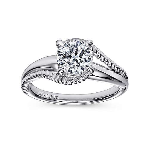 Delta 14k White Gold Round Bypass Engagement Ring
